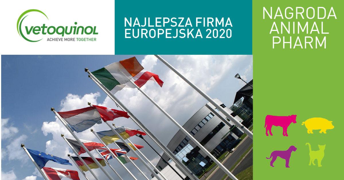 VETOQUINOL ZDOBYWA NAGRODĘ ANIMAL PHARM DLA NAJLEPSZEJ FIRMY EUROPEJSKIEJ 2020